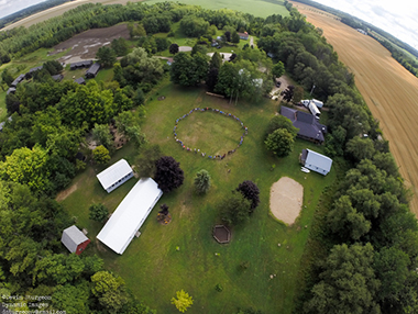 Arial view of Camp Huron facilities.