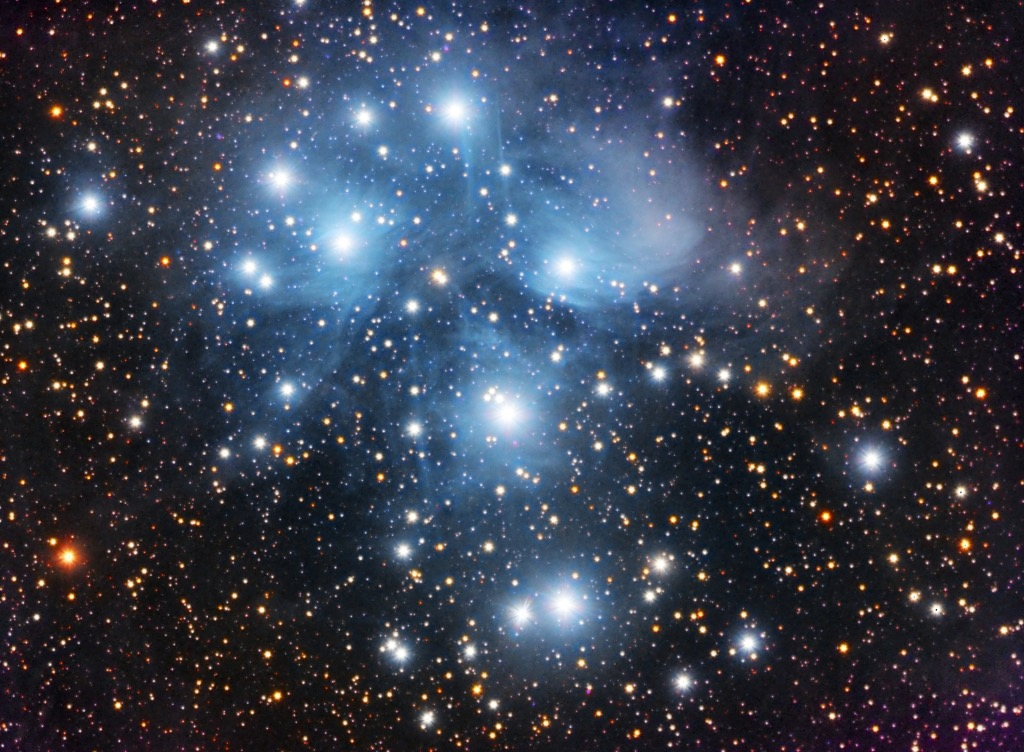 Pleiades. Photo takrn by member of the Royal Astronomical Society of Canada, Kitchener-Waterloo Chapter