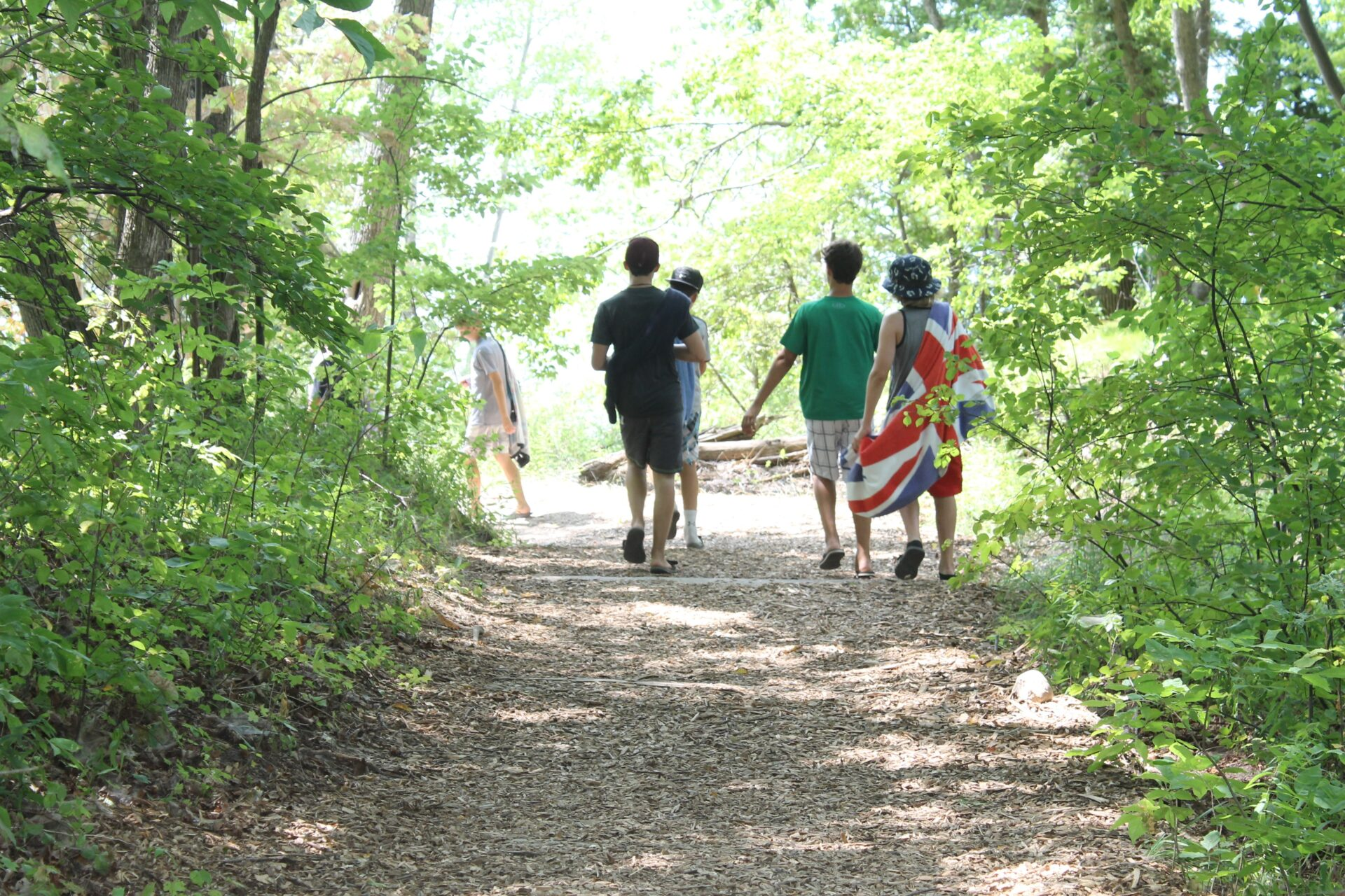 campers walking on a trail